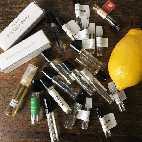 lemon with perfume samples